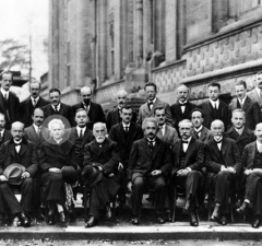 Solvay conference, 1927.  Curie is the only woman scientist (first row, third from left)