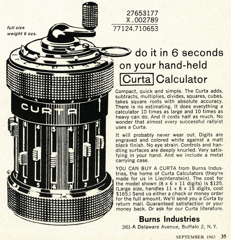 Advertisement of the Curta from 1963. Source: Curta.li