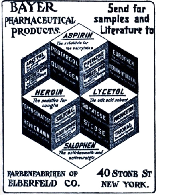 Pre-1904 Bayer advertisement for Aspirin and Heroin
