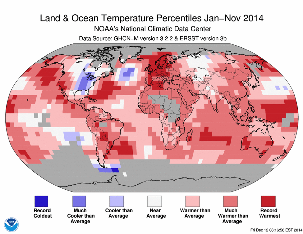 Jan-Nov 2014 was the warmest such period on record across the world's land and ocean surfaces, with an average temperature that was 0.68°C (1.22°F) above the 20th century average. If December is at least 0.42°C (0.76°F) higher than its 20th century average, 2014 will surpass 2005 and 2010 as the warmest year on record.  Image courtesy NOAA.