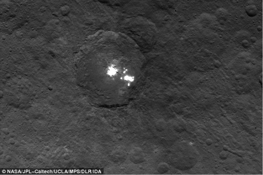 The Ceres bright spots imaged by Dawn from 4,400 km. This strange group of highly reflective areas are scattered over a region 90 km across. Image credit: NASA.